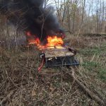 Stolen vehicle found burning in Bartholomew County. Photo courtesy of Bartholomew County Sheriff's Department.