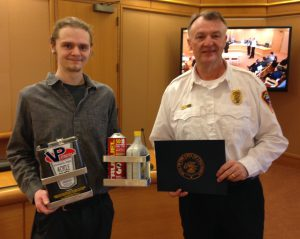 Shane Bryant and CFD Chief Mike Compton; photo courtesy of CFD