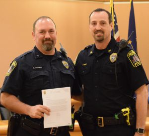 CPD Ofc. Kushman (L) with Chief Jon Rohde; photo courtesy of CPD