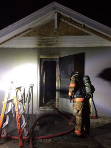 Firefighters battled a home fire on Cherry Street early this morning. Photos courtesy of Columbus Fire Department.
