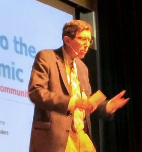 Dr. Kendall Stewart talks at Wednesday's event at The Commons